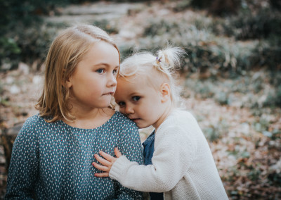 Sister portrait of beautiful girls taken by family photographer near downtown Wilmington NC